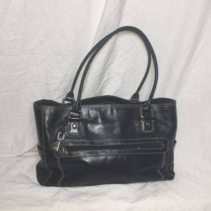 Fossil leather briefcase/ padded laptop/ tote bag